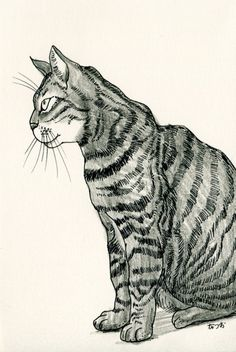 Cat original drawing  P006November2015 by kushun55 on Etsy