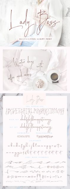 I want to present you Lady Boss script a delicate, feminine, modern handwritten font. This beautiful handwriting script cursive would be a great fit for a variety of DIY projects, alphabet posters, handwritten inspirational quotes for motivation, typographic products or other design. Also, I think this it will be perfect for calligraphy for wedding shower invitations or wedding signs. Price $14 #font  #fonts #fontscript #fontstyle #handscript