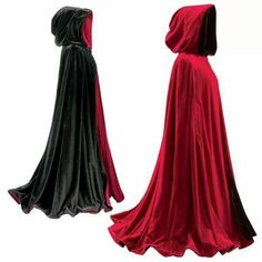 Red and black reversible cloak
