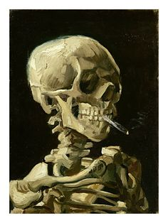 Smoking Skeleton by Van Gogh Painting Print