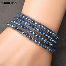 Gratis Verzending 2015 Nieuwe Bedelarmband DIY Lederen Armband 4 Rijen Armband 6mm Kristal Kralen Lederen Wrap Armbanden WRBR-088(China (Mainland))