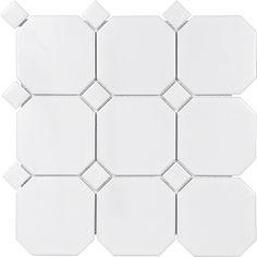 51-095 #White #Matter #Octagon #Dot #Porcelain #Mosaics  White Matte Octagon With White Dot Porcelain Mosaics  www.anatoliatile.com  #Anatoliatile