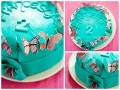 Turquoise Glittering Fondant Cake with Butterflies #glitter
