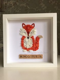 Fox Handmade Unique Gift Button/Bead Art❤️More designs available