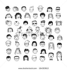 53 different funny faces. royalty-free cartoon vector set 53 different funny faces stock vector art & more images of adult face Cartoon vector set. 53 different funny faces. Funny Face Drawings, Doodle Drawings, Funny Faces, Cute Drawings, Drawing Sketches, Drawing Faces, Drawing Tips, Drawing Hair, Gesture Drawing