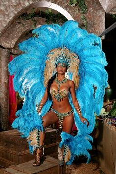 Beautiful Costume with hand crafted jewelry ~ carnival rio