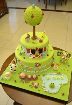 Farm Cake as a birthday cake would be so cute for Aubrie's next bday since she loves animals so much! Gorgeous Cakes, Pretty Cakes, Cute Cakes, Amazing Cakes, Baby Cakes, Cupcake Cakes, Cake Original, Farm Animal Cakes, Cakes To Make