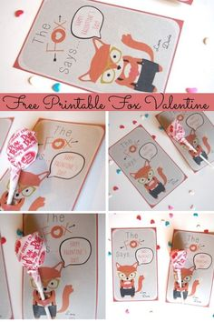 The Fox Says...Happy Valentine's Day! Adorable printable cards for kids, or anyone! #mooshka #cute #valentine