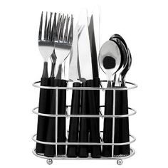 Flatware Set 13-pc. With Caddy Stainless Steel Black - Room Essentials™