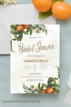 Introducing LENA – Inspired by the vineyards and orchards of Italy, this colourful bridal shower template is full of Mediterranean charm.#citrusshower #bridalshower #orangesshower Pocket Invitation, Invitation Kits, Diy Wedding Templates, Stationery Templates, Orchards, Wedding Stationary, Bridal Shower Invitations, As You Like, Colorful Backgrounds