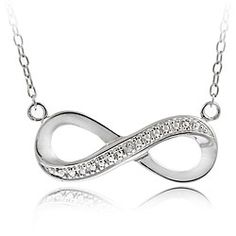 @Overstock - Give her a gift she will cherish forever with an eye-catching infinity necklace  Fashionable necklace features an infinity symbol in a silver pave pattern  Jewelry showcases genuine diamonds in prong settings http://www.overstock.com/Jewelry-Watches/Sterling-Silver-Diamond-Accent-Infinity-Necklace/4048954/product.html?CID=214117 $23.99