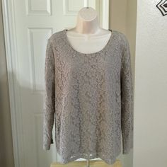 "❌SOLD❌ Chicos Size 3 Long Sleeve Taupe Lace Blouse CONDITION: Like New, no stains, rips, tears or odors. Pet free and NON Smoking home  Chicos Size 3 Long Sleeve Lace Blouse (Conventional size 14/16)  Actual measurements of this blouse are provided below:  Color: Taupe Long Sleeves Bust: 44"" (22"" across) Length: 26""  ❌ NO TRADES ❌ NO HOLDS Chico's Tops Blouses"