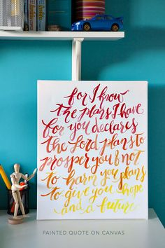 Graduation gift idea: Painted Quote on Canvas - Oh So Very Pretty | A few of our favourite little things #graduation #present #diy