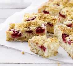Raspberry & apple crumble squares. A brilliant combination of two great puddings - sponge and crumble - try reader Bridie Bannon's fruity traybake.