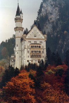 Neuschwanstein castle rear facade and tower viewed from the village by mbell1975 on Flickr.
