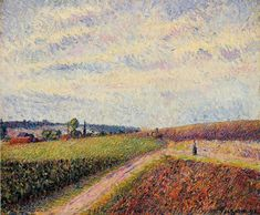 カミーユ・ピサロ View of Eragny Camille Pissarro Private collection Painting - oil on canvas Klimt, Monet, Camille Pissarro Paintings, French Impressionist Painters, Gustave Courbet, Le Havre, Post Impressionism, Oil Painting Reproductions, Oil Painting On Canvas