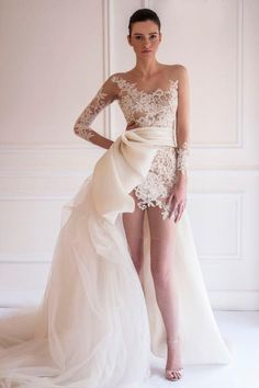 Sexy Detachable Train Hi-Lo Short Wedding Dresses 2015 Asymmetrical Lace Appliques Sheer Neck See-through Long Sleeves Bridals Dresses Online with $181.89/Piece on Beautydoor's Store   DHgate.com