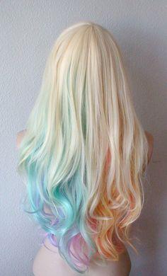 Blonde Pastel rainbow color ombre wig. Pastel color by kekeshop #kawaii  #detodo  #haircolor