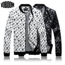 Männer Reißverschluss Slim Fit Freien Punk Sport Grund Jacken Mäntel 2014 neue Casual Männer Schwarz Weiß PU Leder Schädel 3D Print L-5XL(China (Mainland))