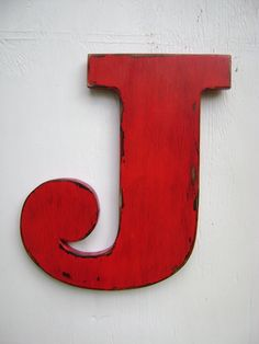 """Items similar to wooden letters rustic wall decor shabby chic letter """"J"""" big initals, nursery,cabin,cottage,decor 12 inches tall painted tru red on Etsy Rustic Wood Walls, Rustic Wall Decor, Wooden Walls, Wooden Wall Letters, Letter Wall, Nursery Letters, Shabby Chic Kitchen, Shabby Chic Decor, Shabby Chic Letters"""
