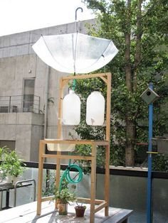 collecting rain water for watering plants