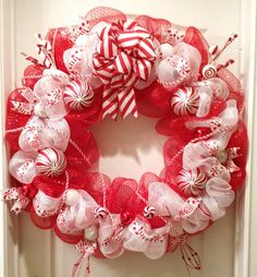 Extra Large Deco Mesh Peppermint Twist Wreath-Candy Cane Deco Mesh Wreath-Christmas Wreath-Deco Mesh Christmas Wreath