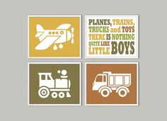 Planes trains trucks and toys Wall Art Boys Room Wall by Especia