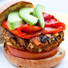 My favorite veggie burger ever!  This burger is loaded with black beans, sweet potato, quinoa, corn + spices.  Yum!