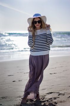 beach maxi with a sweater