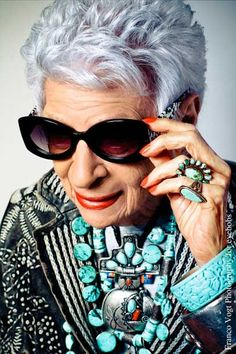 Style icon Iris Apfel. Her fabulously fetching new line of sunwear is available at Oska in downtown Seattle.