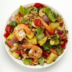 Thai Pineapple Shrimp Fried RiceDelish This stir-fry of pineapple, shrimp, and rice is a great way to bring the island flavors of Thailand to your lunch or dinner. Rice Recipes, Asian Recipes, Cooking Recipes, Healthy Recipes, Recipies, Healthy Meals, Yummy Recipes, Pineapple Shrimp Fried Rice Recipe, Asian Food Recipes