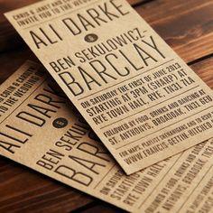 Kraft Brown Letterpress Invite - Ali & Ben
