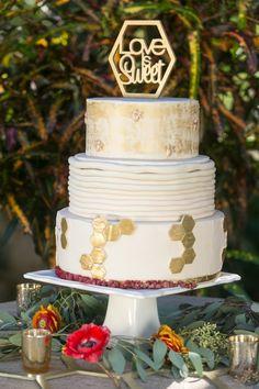 Gold Homeycomb Wedding Cake  | AJ Shorter Photography on @AislePerfect via @aislesociety