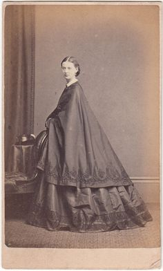 CDV Civil War Era Lady in Silk Dress and Cape by Howie of Southport, England