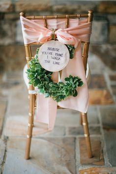 "Southern wedding - chair decor ""because you're mine i walk the line"""