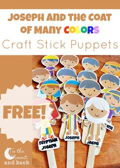 FREE printables to be used as puppets on craft sticks so children can tell the story of Joseph and the coat of many colors at home