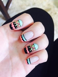 Funky Nails, Love Nails, Pretty Nails, Dot Nail Designs, Square Nail Designs, Karma Nails, Square Acrylic Nails, Geometric Nail Art, Classy Nails
