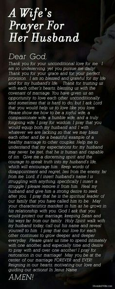Wifes Prayer for Husband love quotes quotes quote religious quotes marriage… Prayers For My Husband, Prayer For Wife, Marriage Prayer, Godly Marriage, Power Of Prayer, Love And Marriage, To My Future Husband, Husband Prayer, Godly Wife