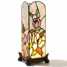 "Tiffany-Style 13"" Butterfly Rosette Stained Glass Accent Lamp"