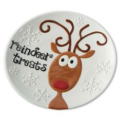 This 'Reindeer Treats' Plate by Design Imports is perfect! Blue Christmas Decor, Cone Christmas Trees, Christmas Door Wreaths, Christmas Plates, Burlap Christmas, Christmas Star, Christmas Balls, Christmas Crafts, Christmas Decorations
