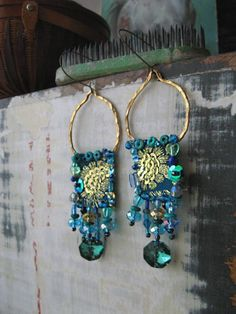 Peacock Earrings Vintage Embroidered Sequin by AllThingsPretty, $65.00