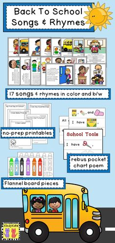 Goodbye, summer…hello, school! Welcome your PK – 2nd Grade students with these 17 easy-to-learn songs and rhymes for the first weeks of school. TpT$