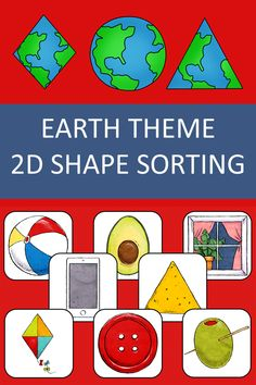 Identify 2D shaped objects with this Montessori inspired Earth theme shape recognition and classification activiy for preschool, kindergarten and special education. A great resource for Earth day, a unit about recycling or the Creation story.