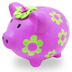 Flower Piggy Bank Dot Painting, Ceramic Painting, Wooden Piggy Bank, Pig Bank, Penny Bank, Mini Pigs, Cute Piggies, This Little Piggy, Money Box
