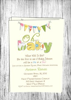 Gender Reveal Baby Shower Invitation Party by 3PeasPrints on Etsy, $16.00