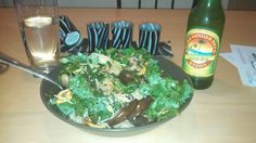 Kale spinach eggplant yellow squash cheese rice & ginger beer!