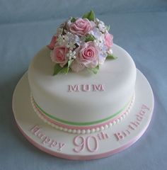 Best Birthday Cake Ideas For Grandma Desserts Ideas Birthday Cake For Mum, 90th Birthday Cakes, 90th Birthday Parties, Birthday Cakes For Women, Birthday Cupcakes, Birthday Pins, Birthday Ideas, Happy Birthday, Mom Cake