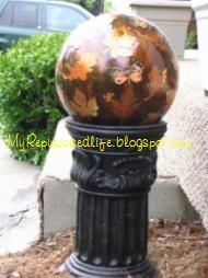 bowling ball into an unbreakable gazing ball? Decoupage!