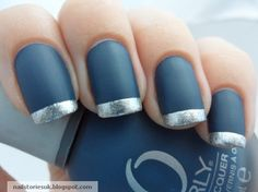 Blue Suede and Silver Shimmer French Tip Nails