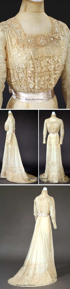 Dress, Hugo Hill Co., Detroit, ca. 1897-1900. Silk with net, satin, ribbon, and machine lace. Henry Ford Collections